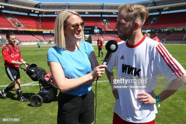 Ruth Hofmann talks to a player during the DFB Cup Der Fans 2017 at Stadion Nuernberg on June 11 2017 in Nuremberg Germany