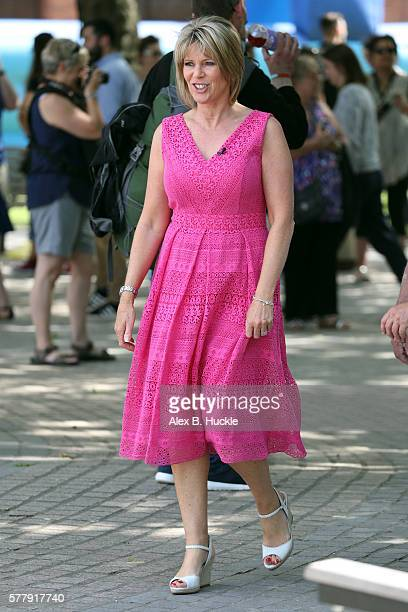 Ruth Langsford seen filming 'This Morning' on the Southbank on July 20 2016 in London England