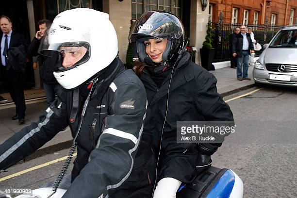 Ruth Langsford sighted leaving Claridges after a Hugh Jackman interview on April 2 2014 in London England