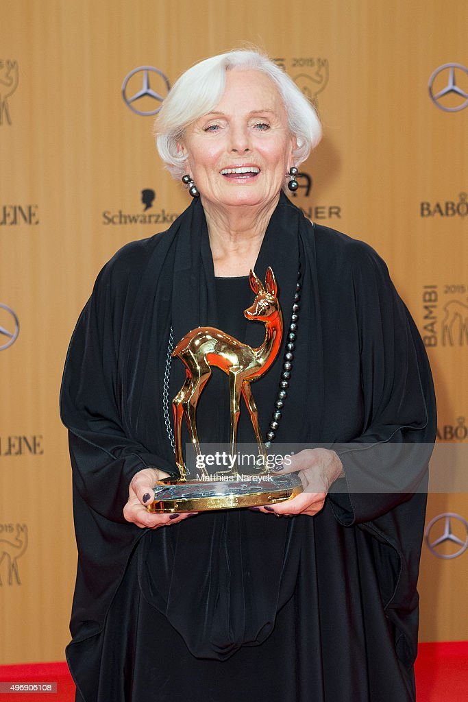 Ruth Maria Kubitschek poses at the Bambi Awards 2015 winners board at Stage Theater on November 12, 2015 in Berlin, Germany.