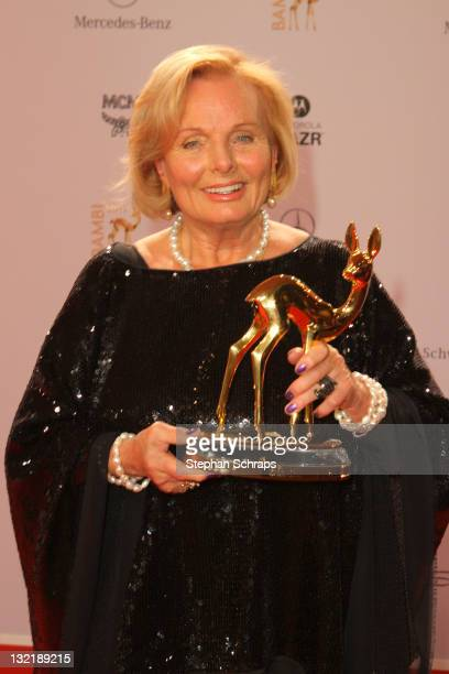 Ruth Maria Kubitschek poses in front of the winners board during the Bambi Award 2011 ceremony at the RheinMainHallen on November 10 2011 in...