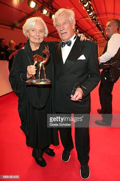 Ruth Maria Kubitschek with Siegfried Rauch and the award for Wolfgang Rademann during at the Bambi Awards 2015 winners board at Stage Theater on...