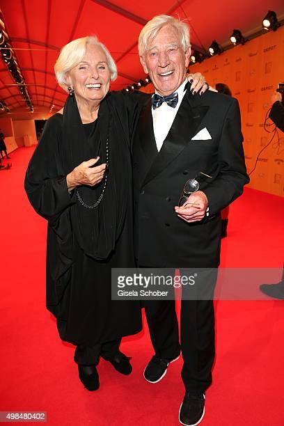 Ruth Maria Kubitschek with Siegfried Rauch during at the Bambi Awards 2015 winners board at Stage Theater on November 12 2015 in Berlin Germany