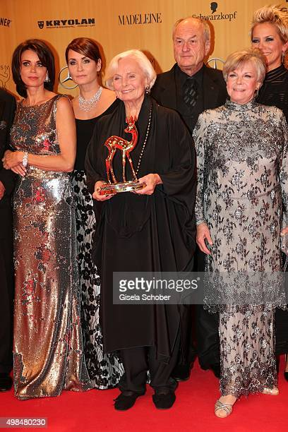 Ruth Maria Kubitschek with the award for Wolfgang Rademann during at the Bambi Awards 2015 winners board at Stage Theater on November 12 2015 in...