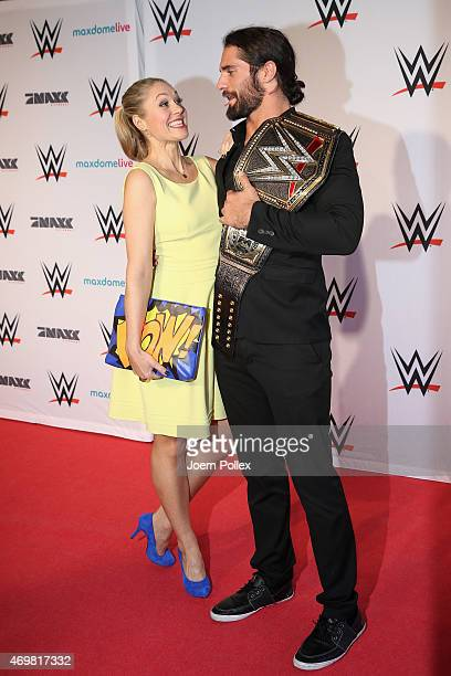 Ruth Moschner and Seth Rollins are pictured on the red carpet prior to the WWE Live event at O2 World on April 15 2015 in Hamburg Germany