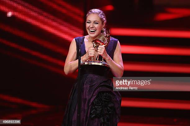 Ruth Moschner is seen on stage with her award during the Bambi Awards 2015 show at Stage Theater on November 12 2015 in Berlin Germany