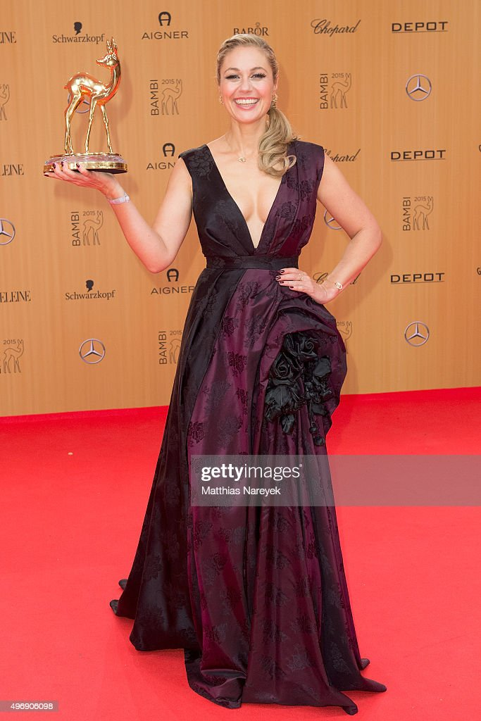 ruth Moschner poses at the Bambi Awards 2015 winners board at Stage Theater on November 12, 2015 in Berlin, Germany.