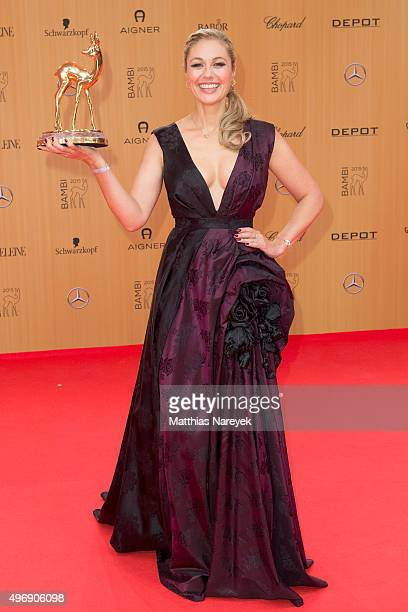 ruth Moschner poses at the Bambi Awards 2015 winners board at Stage Theater on November 12 2015 in Berlin Germany