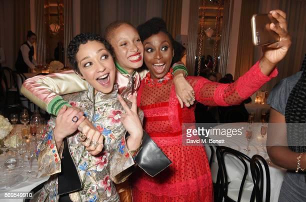 Ruth Negga Adwoa Aboah and Chimamanda Ngozi Adichie attend Harper's Bazaar Women of the Year Awards in association with Ralph Russo Audemars Piguet...