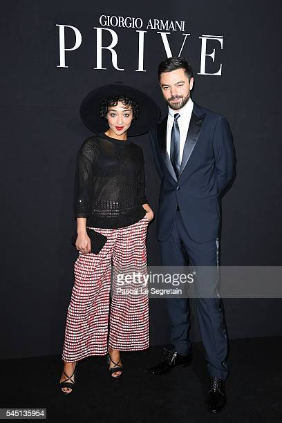 Ruth Negga and Dominic Cooper attend the Giorgio Armani Prive Haute Couture Fall/Winter 20162017 show as part of Paris Fashion Week on July 5 2016 in...
