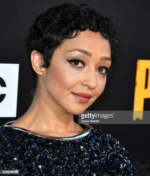 Ruth Negga arrives at the Premiere Of AMC's 'Preacher' Season 2 at The Theatre at Ace Hotel on June 20 2017 in Los Angeles California