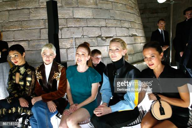 Ruth Negga Michelle Williams Julianne Moore Cate Blanchett and Alicia Vikander attend the Louis Vuitton show as part of the Paris Fashion Week...