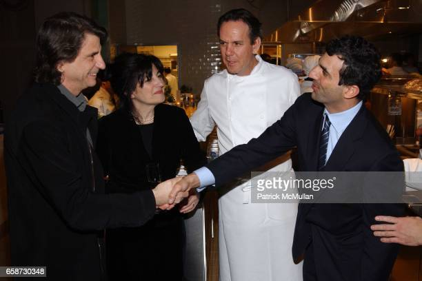 Ruth Reichl introducing David Rockwell to Giulio Capua with Thomas Keller looking on attend Gourmet Magazine's celebration release of March 2004 New...