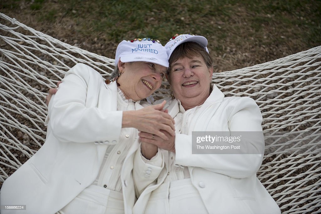 Ruth Siegel (left) and Nina Nethery of Silver Spring, Maryland were the first couple married at midnight at the Black Walnut Point Inn on Tilghman Island, Maryland on January 01, 2013. They have been a couple for fifteen years. Same sex couples exchange wedding vows on the first day of same-sex marriage, which goes into effect Jan. 1, 2013.