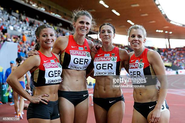 Ruth Sophia Spelmeyer Janin Lindenberg Lena Schmidt and Lara Hoffmann of Germany pose after competing in the Women's 4x400 metres relay heats during...