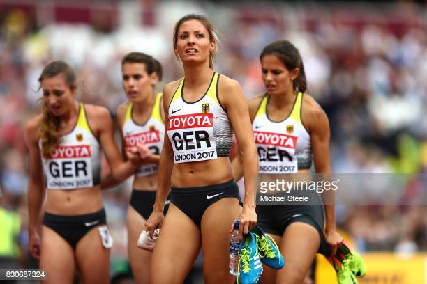 Ruth Sophia Spelmeyer Nadine Gonska Svea Kohrbruck and Laura Muller of Germany react after compeing in th Women's 4x400 Metres Relay heats during day...