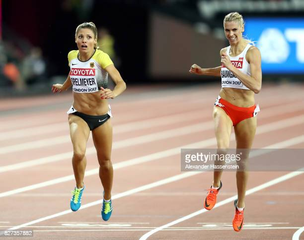 Ruth Sophia Spelmeyer of Germany and Iga Baumgart of Poland compete in the Women's 400 metres semi finals during day four of the 16th IAAF World...