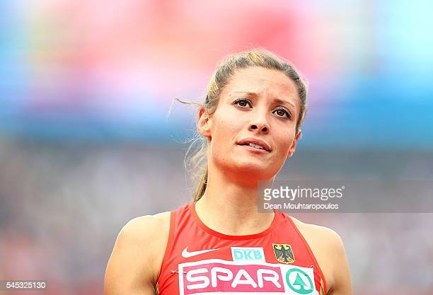 Ruth Sophia Spelmeyer of Germany looks on during her 400m semi final on day two of The 23rd European Athletics Championships at Olympic Stadium on...