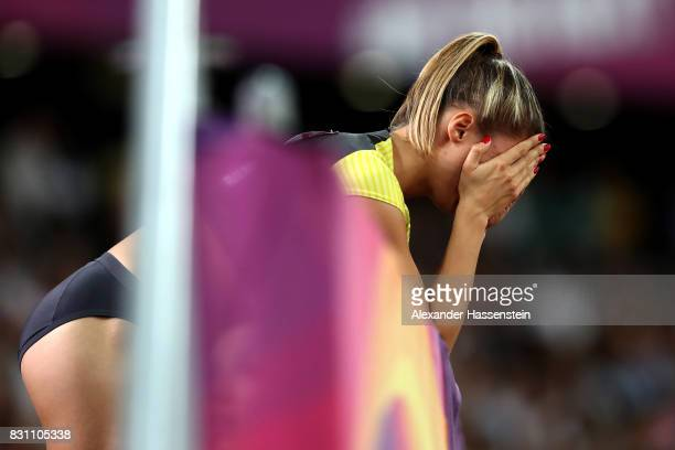 Ruth Sophia Spelmeyer of Germany reacts after they placed last in the Women's 4x400 Metres Relay final during day ten of the 16th IAAF World...