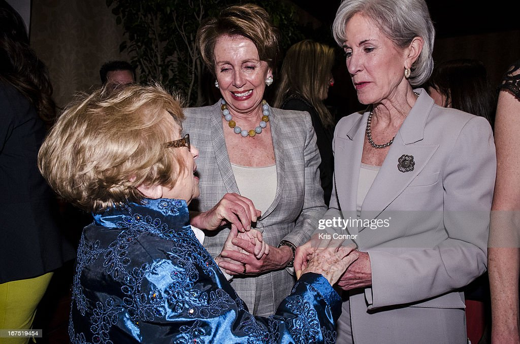 Ruth Westheimer, Nancy Pelosi and Kathleen Sebelius attend the <<attends Planned Parenthood Federation of America's VIP Reception > at the Marriott Wardman Park Hotel on April 25, 2013 in Washington, DC.