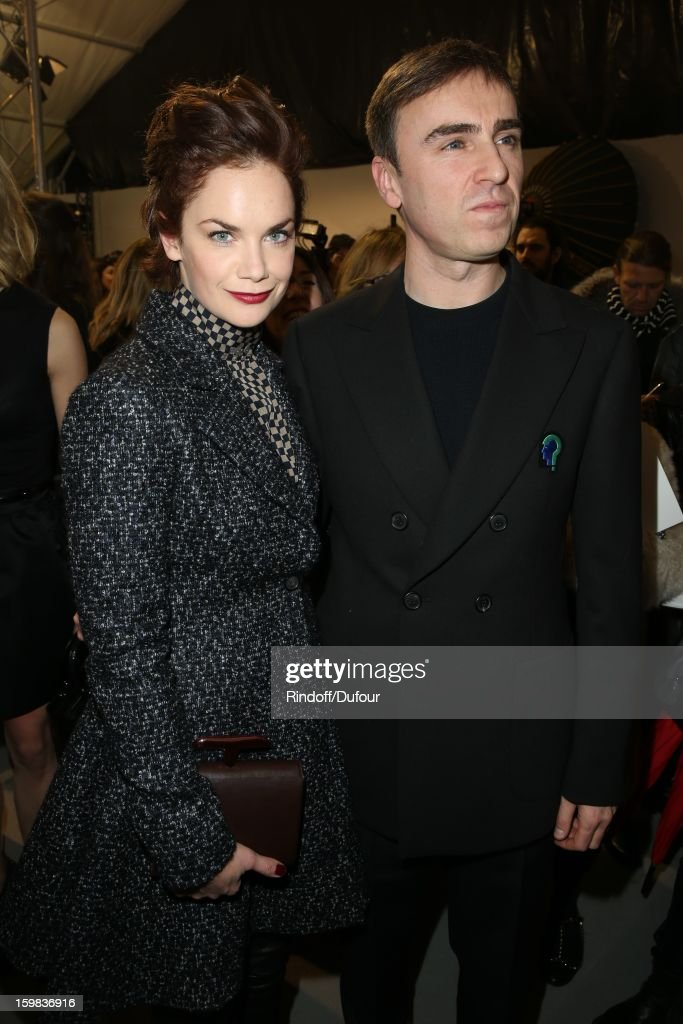 <a gi-track='captionPersonalityLinkClicked' href=/galleries/search?phrase=Ruth+Wilson+-+Actress&family=editorial&specificpeople=3111655 ng-click='$event.stopPropagation()'>Ruth Wilson</a> and <a gi-track='captionPersonalityLinkClicked' href=/galleries/search?phrase=Raf+Simons+-+Fashion+Designer&family=editorial&specificpeople=7070305 ng-click='$event.stopPropagation()'>Raf Simons</a> attend in Backstage the Christian Dior Spring/Summer 2013 Haute-Couture show as part of Paris Fashion Week at on January 21, 2013 in Paris, France.