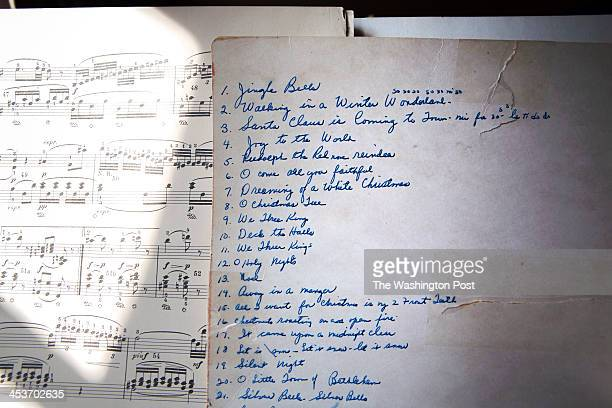 Ruthanna Weber's Christmas song list on her piano at her home in the Kenwood neighborhood Photographed on October 4 2013