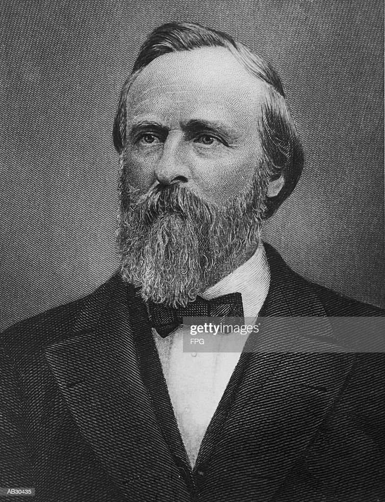 Rutherford B. Hayes (1822-93), 19th US president (B&W) : Stock Photo