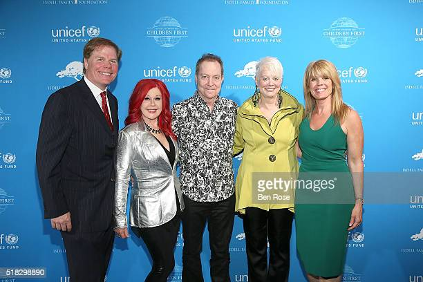 Rutherford Seydel and Kate Pierson Fred Schneider and Cindy Wilson of the B52s and Laura Turner Seydel attend UNICEF's Evening for Children First to...