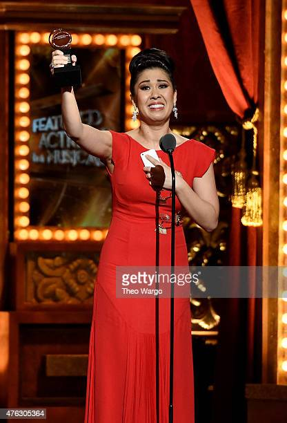"Ruthie Ann Miles accepts the award for Best Performance by an Actress in a Featured Role in a Musical for ""The King and I"" onstage during the 2015..."