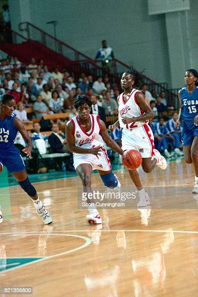 Ruthie Bolton of the USA Women's National Team drives against Cuba during the 1996 Summer Olympics at the Morehouse College Gymnasium on July 21 1996...