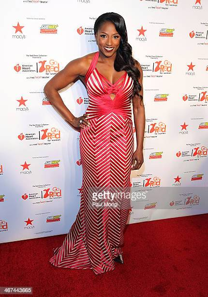Rutina Wesley attends the Go Red For Women The Heart Truth Red Dress Collection during MercedesBenz Fashion Week Fall 2014 at The Theatre at Lincoln...