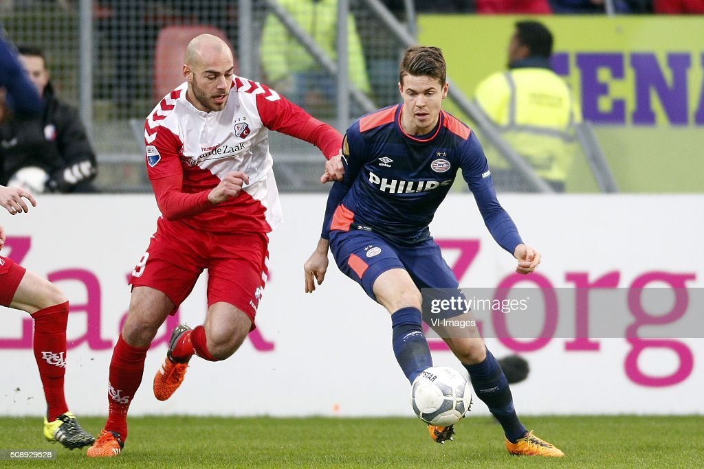 , Ruud Boymans of FC Utrecht, Marco van Ginkel of PSV during the Dutch Eredivisie match between FC Utrecht and PSV Eindhoven at the Galgenwaard Stadium on February 07, 2016 in Utrecht, The Netherlands