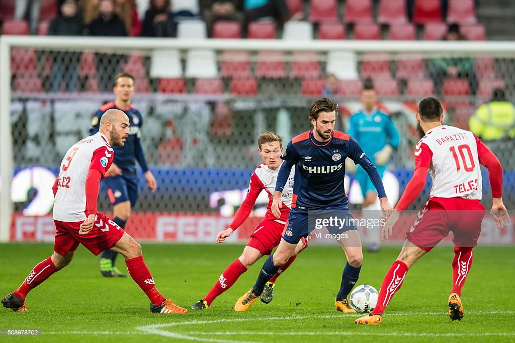 Ruud Boymans of FC Utrecht , Rico Strieder of FC Utrecht, Davy Propper of PSV, Nacer Barazite of FC Utrecht during the Dutch Eredivisie match between FC Utrecht and PSV Eindhoven at the Galgenwaard Stadium on February 07, 2016 in Utrecht, The Netherlands