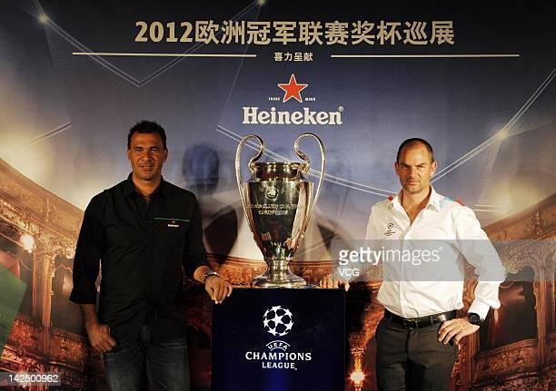 Ruud Gullit and Ronald de Boer attend the unveiling of the UEFA Champions League trophy during the UEFA Champions League Trophy Tour 2012 at...