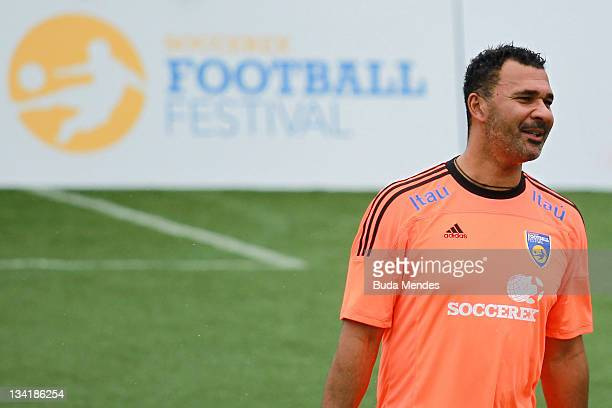 Ruud Gullit from Holland poses during a match as part of the the Soccerex Legends fiveaside Tournament at Copacabana Beach on November 27 2011 in Rio...