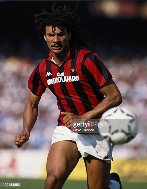 Ruud Gullit of AC Milan in action with the ball during a Serie A match against Napoli on 1st May 1988 at the San Paolo Stadium in Naples Italy