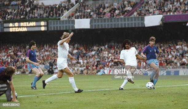 Ruud Gullit of AC Milan scores his first goal during the UEFA European Cup Final against Steaua Bucharest at the Nou Camp Stadium in Barcelona Spain...