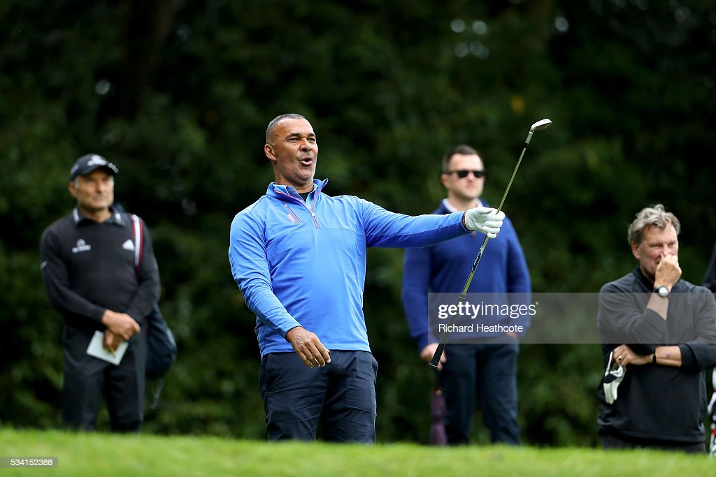 <a gi-track='captionPersonalityLinkClicked' href=/galleries/search?phrase=Ruud+Gullit&family=editorial&specificpeople=2104975 ng-click='$event.stopPropagation()'>Ruud Gullit</a> reacts during the Pro-Am prior to the BMW PGA Championship at Wentworth on May 25, 2016 in Virginia Water, England.
