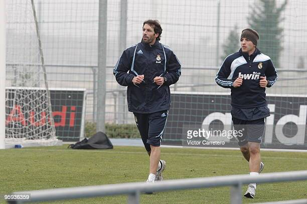 Ruud van Nistelrooy and Rafael van der Vaart of Real Madrid during a training session at Valdebebas on January 22 2010 in Madrid Spain