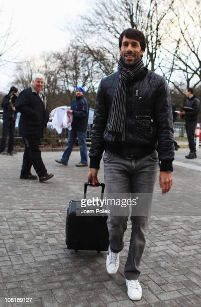 Ruud van Nistelrooy arrives for the training session of Hamburger SV on January 20 2011 in Hamburg Germany