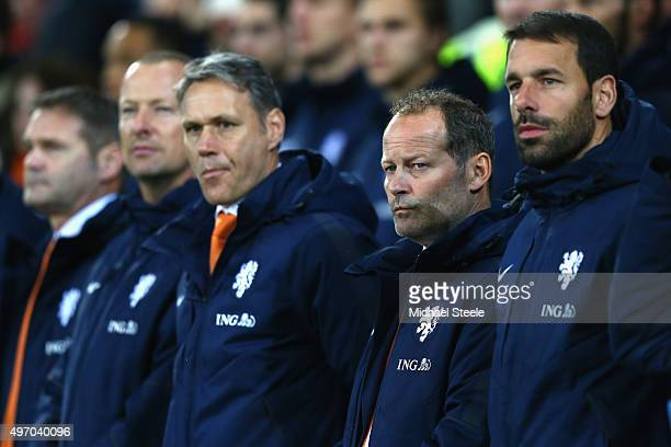 Ruud van Nistelrooy assistant coach of Netherlands alongside head coach Danny Blind and assistant coach Marco van Basten during the international...
