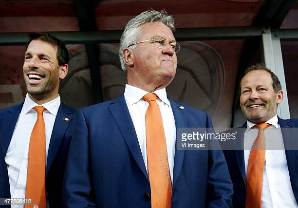Ruud van Nistelrooy Guus Hiddink Danny Blind of the Netherlands during the UEFA EURO 2016 qualifying match between Latvia and The Netherlands on June...