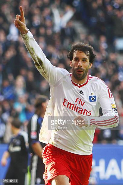 Ruud van Nistelrooy of Hamburg celebrates after scoring his team's first goal during the Bundesliga match between Hamburger SV and FC Schalke 04 at...