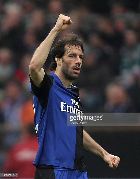 Ruud van Nistelrooy of Hamburg celebrates after scoring his team's first goal during the Bundesliga match between SV Werder Bremen and Hamburger SV...