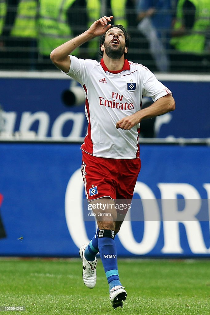 Ruud van Nistelrooy of Hamburg celebrates his team's second goal during the Bundesliga match between Eintracht Frankfurt and Hamburger SV at the Commerzbank Arena on August 28, 2010 in Frankfurt am Main, Germany.