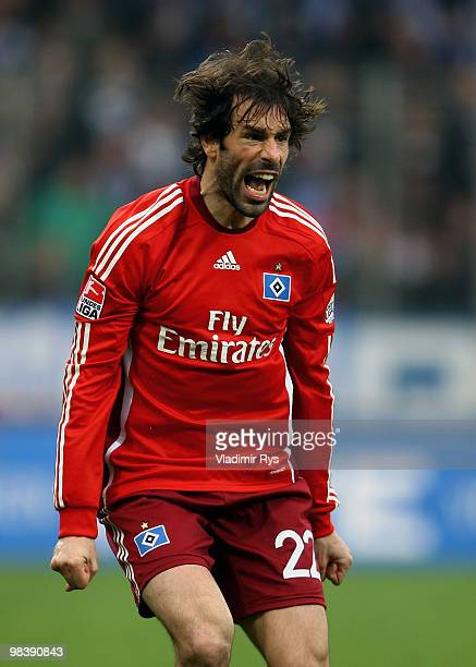 Ruud van Nistelrooy of Hamburg reacts during the Bundesliga match between VfL Bochum and Hamburger SV at Rewirpower Stadium on April 11 2010 in...