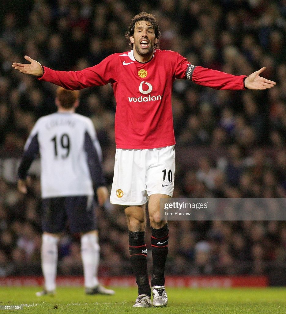Ruud van Nistelrooy of Manchester United appeals to the linesman during the Barclays Premiership match between Manchester United and West Ham United at Old Trafford on March 29 2006 in Manchester, England.
