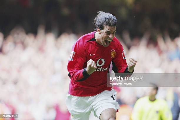 Ruud van Nistelrooy of Manchester United celebrates after scoring a penalty during the AXA FA Cup Final between Manchester United and Millwall at the...