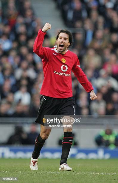 Ruud van Nistelrooy of Manchester United celebrates his goal during the Barclays Premiership match between Manchester City and Manchester United at...