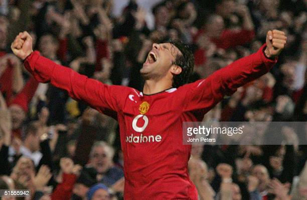 Ruud van Nistelrooy of Manchester United celebrates scoring the first goal during the Barclays Premiership match between Manchester United and...